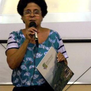 Maria Emília Pacheco, da FASE, apresentou o caderno pedagógico. (Foto: FASE)