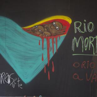 Grafite produzido durante intervenção na frente da antiga sede da Vale. Foto: Rosilene Miliotti / FASE