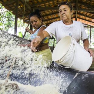 Produção de farinha na comunidade África. Foto: Rosilene Miliotti / FASE