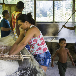 Quilombolas se reúnem para produzir farinha, em Larajituba. Foto: Rosilene Miliotti / FASE