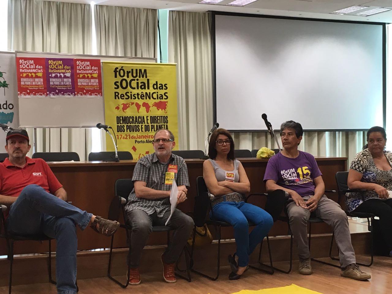 Organizadores do Fórum Social das Resistências em coletiva de imprensa. (Foto: CTB)